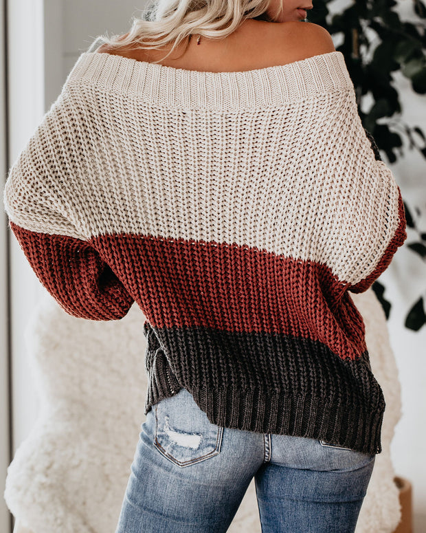 Erica Off The Shoulder Colorblock Sweater