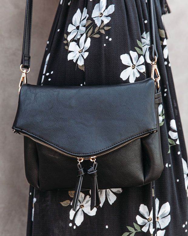 Erin Faux Leather Crossbody Bag - Black view 3