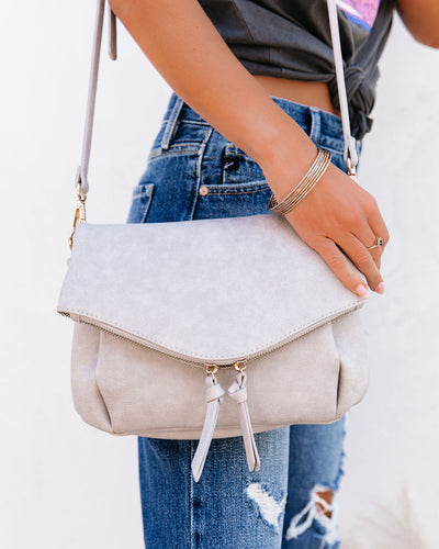 Erin Faux Leather Crossbody Bag - Grey