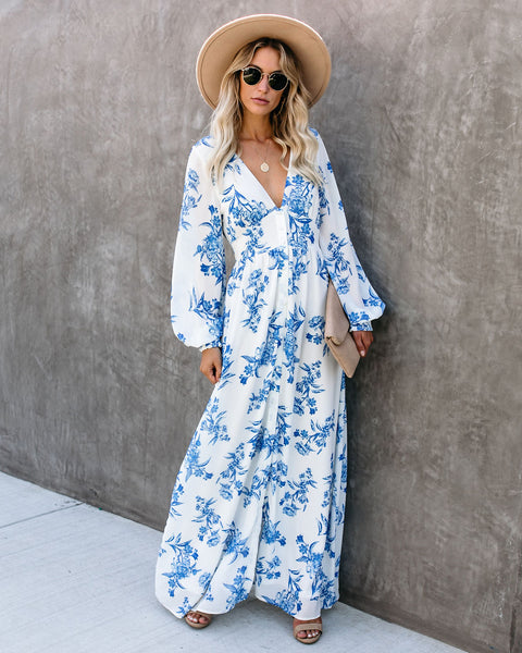 Erin Long Sleeve Button Down Maxi Dress