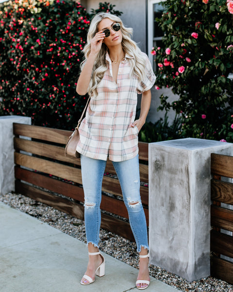 Errand Cotton Blend Pocketed Plaid Tunic - FINAL SALE