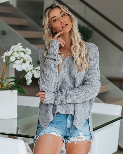 Esmae Cotton Blend Knit Sweater - Heather Grey