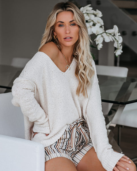 Esmae Cotton Blend Knit Sweater - Ivory