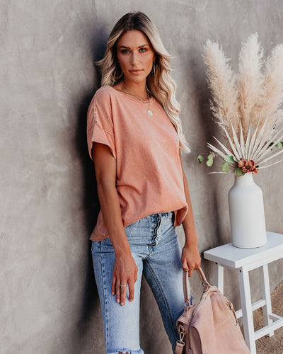 Esther Cotton Mineral Wash Tee - Rose - FINAL SALE