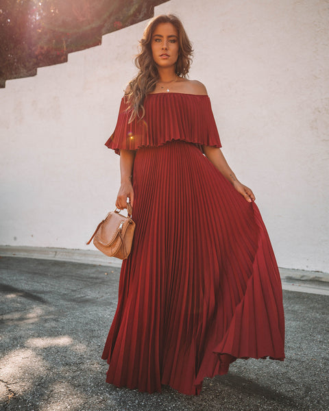 Eternal Love Pleated Maxi Dress - Burgundy
