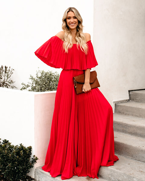 Eternal Love Pleated Maxi Dress - Tomato