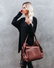 Etta Faux Leather Shoulder Bag - Chocolate view 2