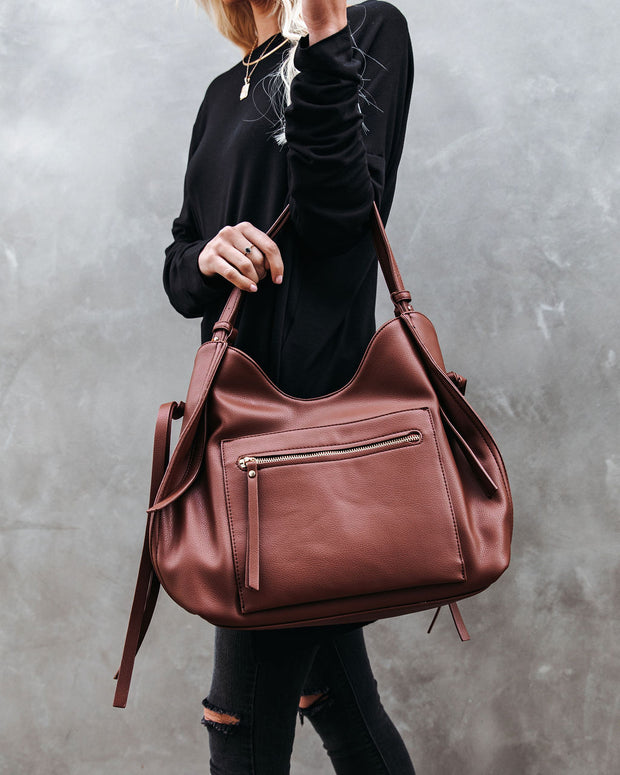 Etta Faux Leather Shoulder Bag - Chocolate view 7