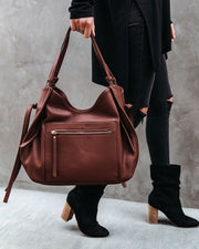 Etta Faux Leather Shoulder Bag - Chocolate view 6