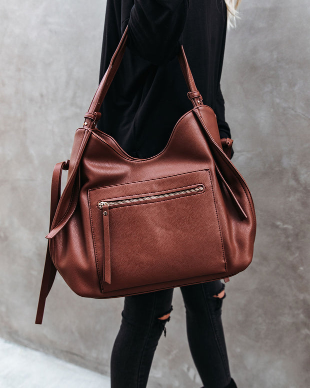 Etta Faux Leather Shoulder Bag - Chocolate view 1