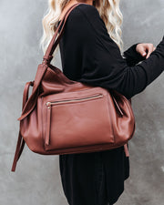 Etta Faux Leather Shoulder Bag - Chocolate view 8