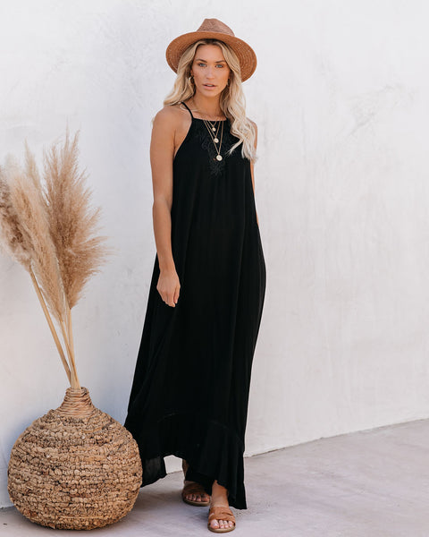 Eugene Floral Embroidered Maxi Dress - Black