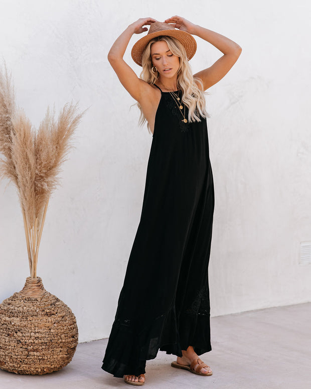 Eugene Floral Embroidered Maxi Dress - Black - FINAL SALE