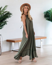 Eugene Floral Embroidered Maxi Dress - Olive