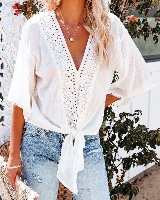 Euphoria Cotton Eyelet Tie Top - Off White view 5