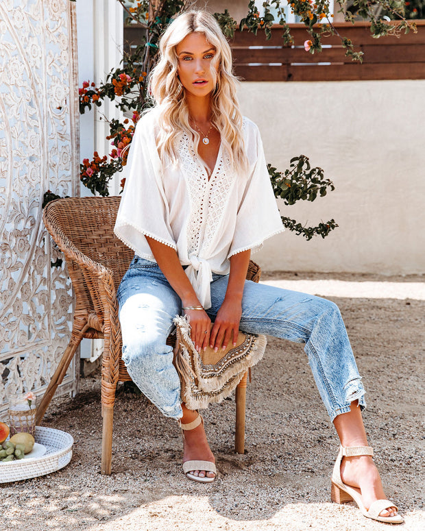 Euphoria Cotton Eyelet Tie Top - Off White view 9