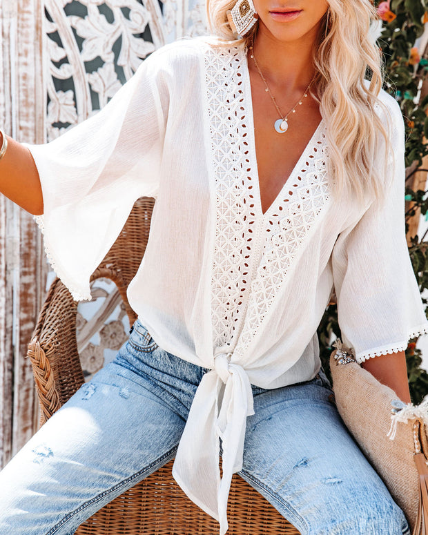 Euphoria Cotton Eyelet Tie Top - Off White view 7