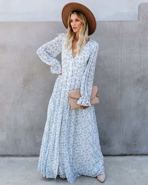 Evanne Long Sleeve Button Down Maxi Dress