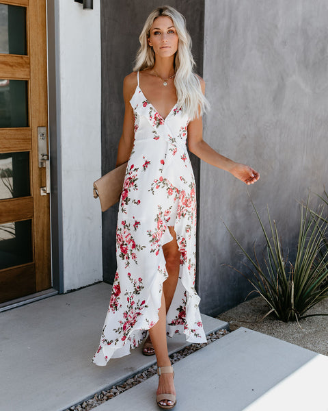 Event Buzz Satin Floral Ruffle Maxi Dress - Ivory