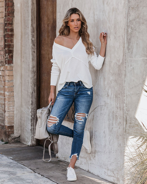 Everett Criss Cross Back Thermal Knit Top - Off White