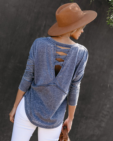 Everett Criss Cross Back Thermal Knit Top - Washed Indigo