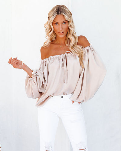 Everly Satin Drawstring Blouse - Champagne