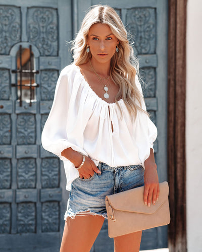 Everly Satin Drawstring Blouse - White