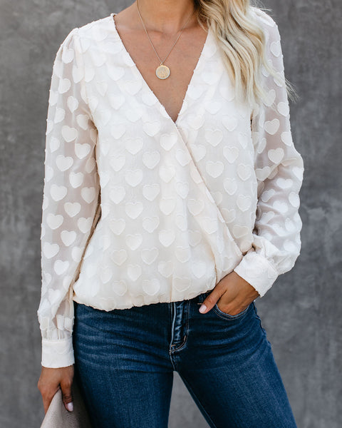 Every Possibility Textured Heart Drape Blouse - FINAL SALE