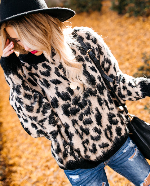 Exotic Leopard Knit Sweater - Taupe/Black