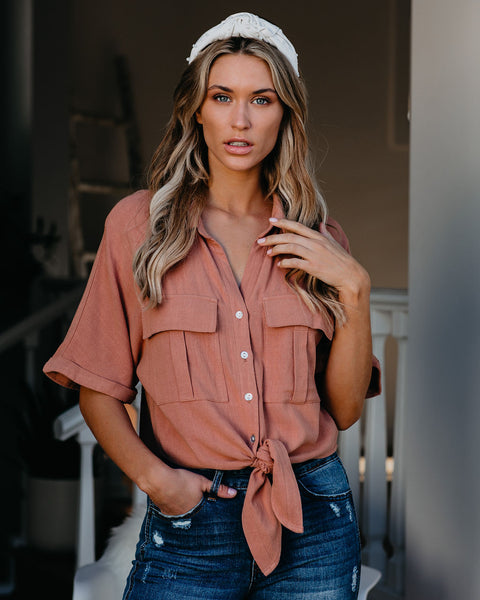 Exploration Button Down Tie Top - Ginger