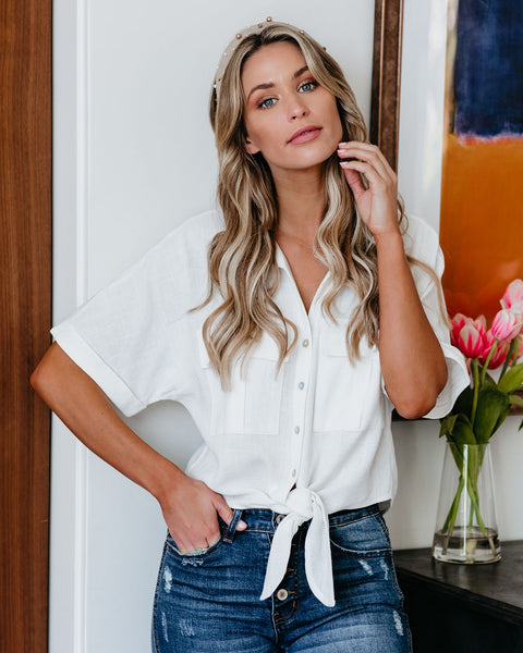 Exploration Button Down Tie Top - Ivory - FINAL SALE