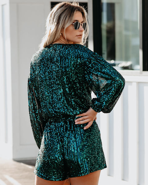 Eye Candy Sequin Pocketed Tie Romper - Green