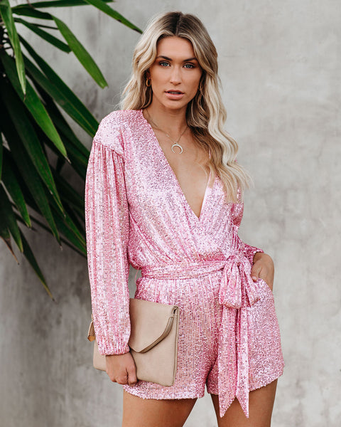 Eye Candy Sequin Pocketed Tie Romper - Mauve Pink - FINAL SALE
