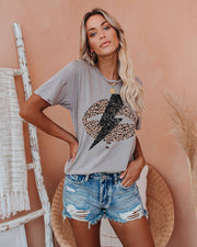 Face Like Thunder Distressed Cotton Leopard Tee view 3