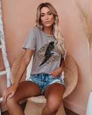 Face Like Thunder Distressed Cotton Leopard Tee view 1