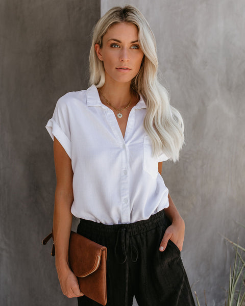 Factory Tencel Button Down Top - White - FINAL SALE