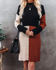 Faith In Me Colorblock Knit Sweater Dress
