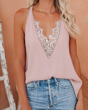 Faith Lace Trim Racerback Tank - Smoke Rose