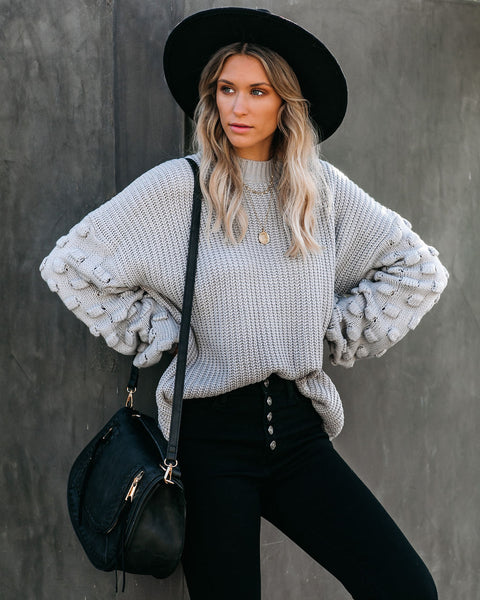 Fall Bucket List Knit Sweater - Grey