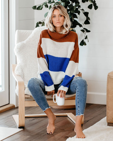 Falling Acorns Colorblock Turtleneck Sweater