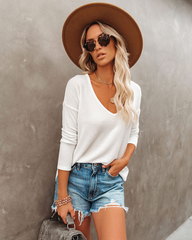 Fall Into Autumn V-Neck Knit Top - Off White