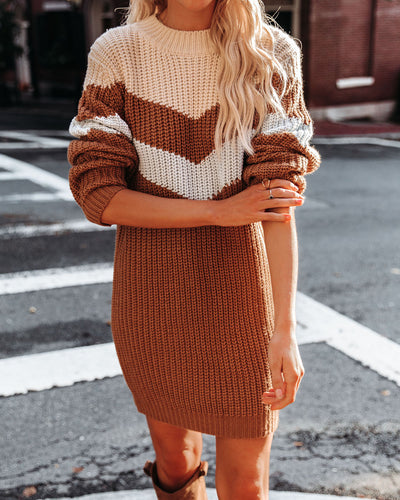 Fall Kinda Girl Chevron Knit Sweater Dress