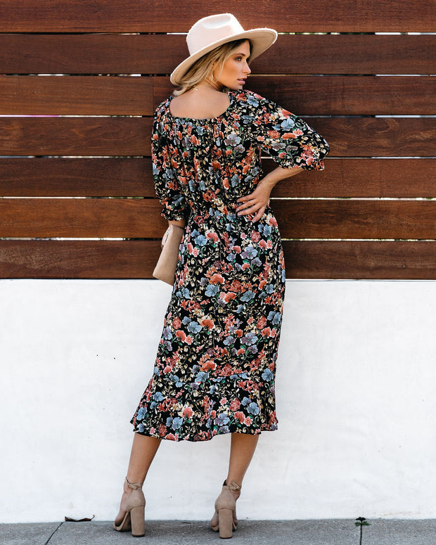 Fall Leaves And Autumn Breeze Floral Midi Dress - FINAL SALE
