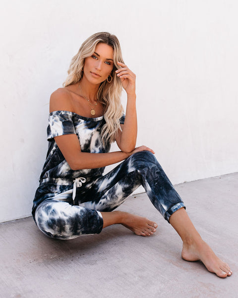 Falls Pocketed Tie Dye Off The Shoulder Knit Jumpsuit