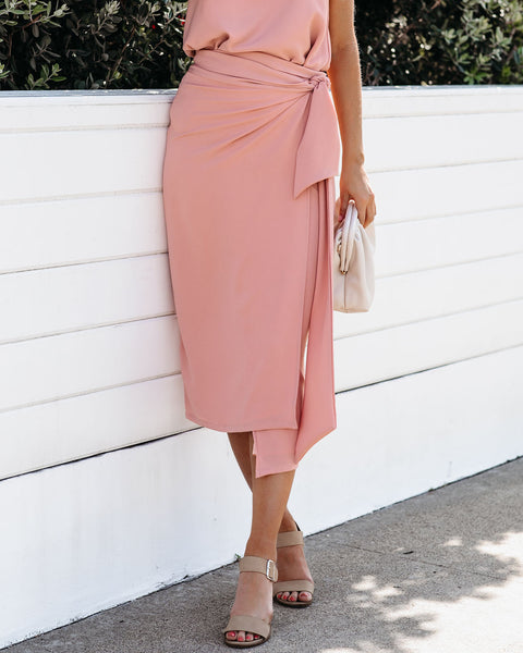 Fame And Fortune Wrap Midi Skirt - Foundation - FINAL SALE