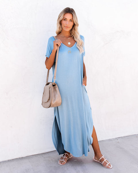 Farmers Market Pocketed Modal Maxi Dress - Blue