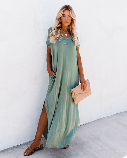 Farmers Market Pocketed Modal Maxi Dress - Dark Sage