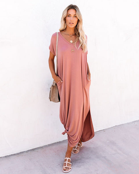 Farmers Market Pocketed Modal Maxi Dress - Marsala