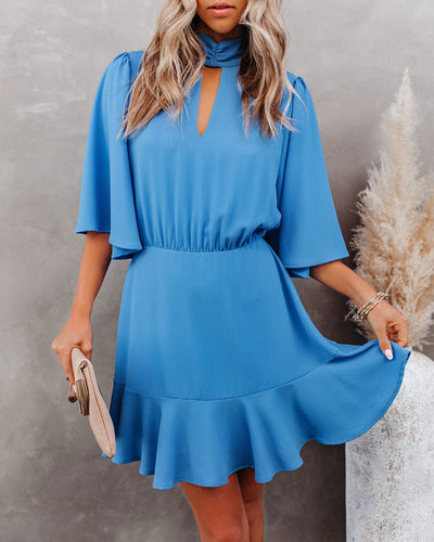 Fashion Forward Keyhole Dress - Clean Blue