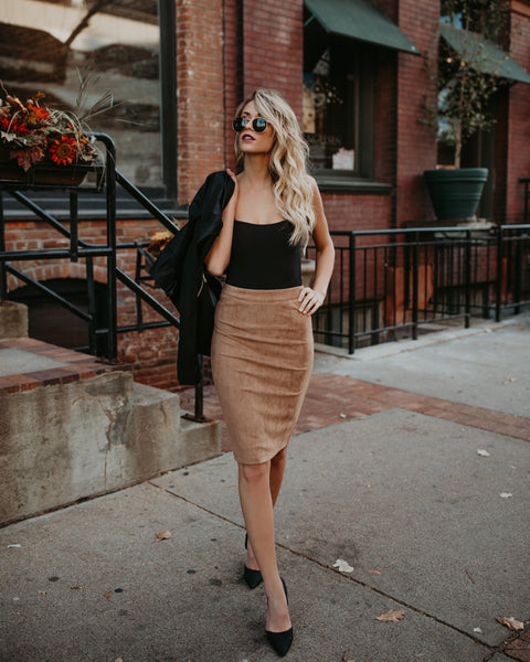Cultured Faux Suede Pencil Skirt